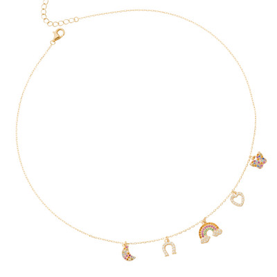 Yellow gold plated necklace with multicolor and white zircon pendants