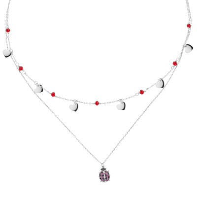 Double wire necklace with cubic zirconia and ladybug