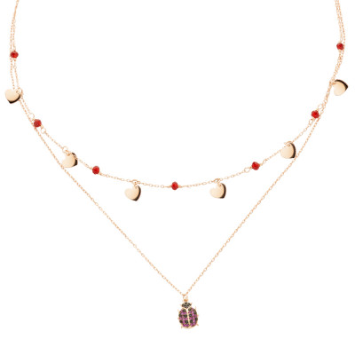 Yellow gold plated double wire necklace with cubic zirconia and ladybug