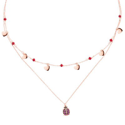Rose gold plated double wire necklace with cubic zirconia and ladybug