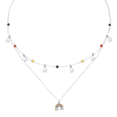 Double wire necklace with cubic zirconia and rainbow