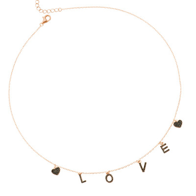 Rose gold plated necklace with black zircon pendants with the word LOVE