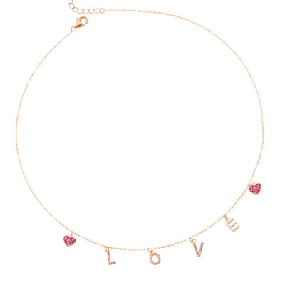 Yellow gold plated necklace with zircon pendants with the word LOVE
