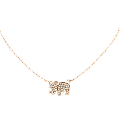 Rose gold plated necklace with cubic zirconia elephant