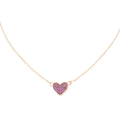 Rose gold plated necklace with cubic zirconia heart