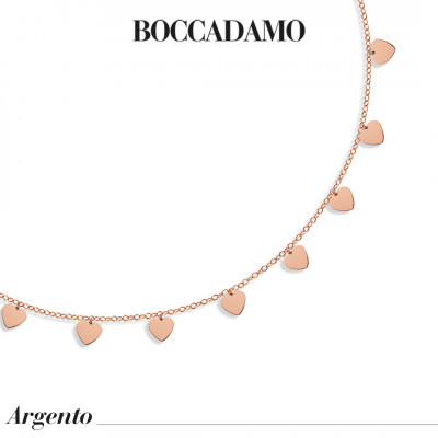 Rose gold plated necklace with hearts