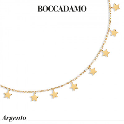 Yellow gold plated necklace with stars