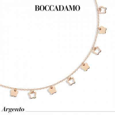 Rose gold plated necklace with hanging butterflies