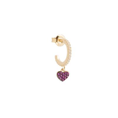 Mono crescent earring with heart of fuchsia cubic zirconia
