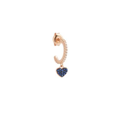 Mono crescent earring with heart of celestial zircons