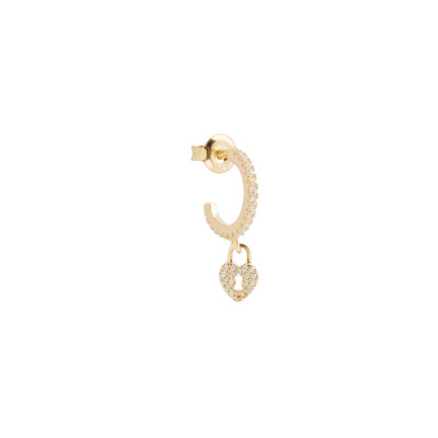 Yellow gold plated half moon earring with cubic zirconia heart