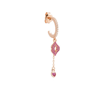 Pendant earring with mouth and heart of fuchsia cubic zirconia