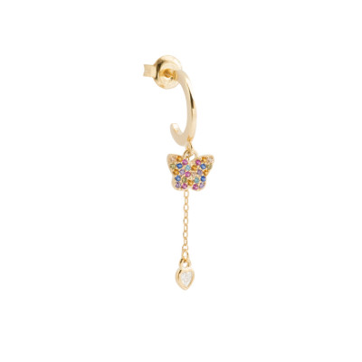 Pendant earring with butterfly and heart of fuchsia cubic zirconia