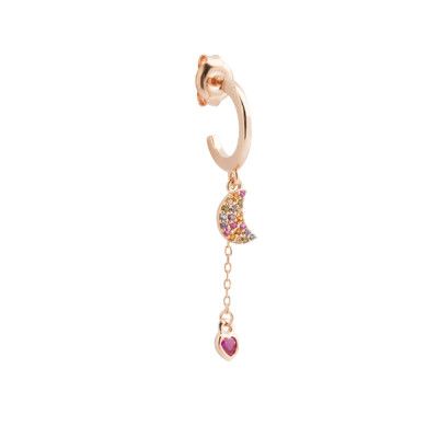 Yellow gold plated earring with crescent and zircon heart
