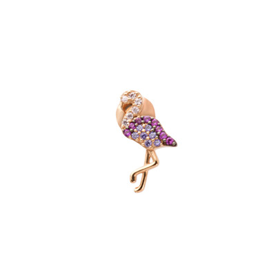 Rose gold plated earring with cubic zirconia flamingo