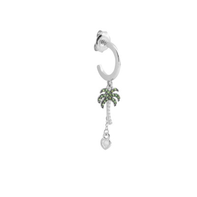 Crescent earring with palm tree and cubic zirconia heart