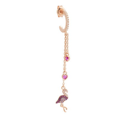 Tassel earring with flamingo and cubic zirconia hearts