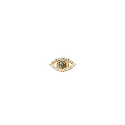 Yellow gold plated earring with zircon eye of Horus