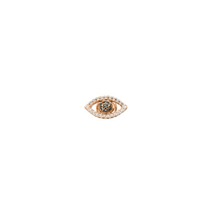 Rose gold plated earring with zircon eye of Horus