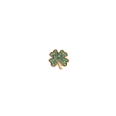 Yellow gold plated earring with cubic zirconia clover