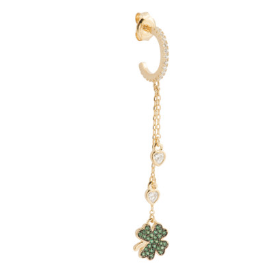 Yellow gold plated tuft earring with cubic zirconia clover