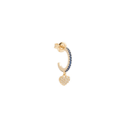 Crescent earring with heart of white cubic zirconia