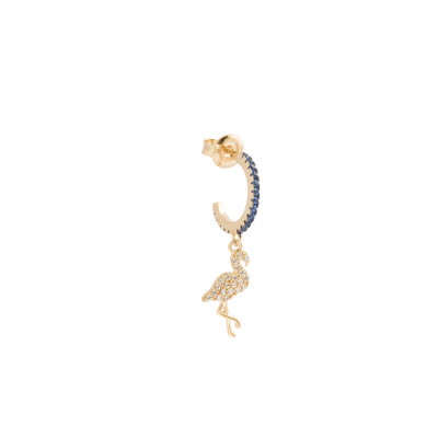 Crescent earring with white cubic zirconia flamingo