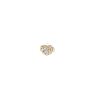 Lobe earring with heart of white cubic zirconia