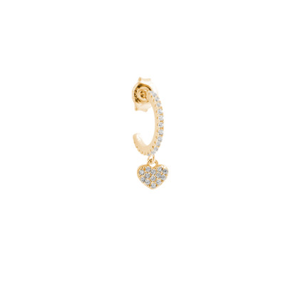 Yellow gold plated crescent earring with white zirconia heart