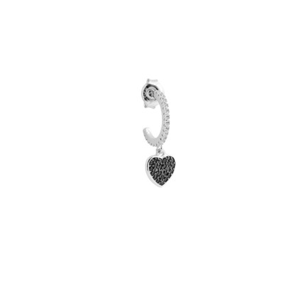 Crescent earring with black zircon heart
