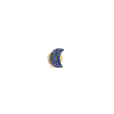 Lobe earring with crescent with celestial zircons