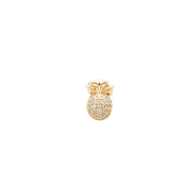 Yellow gold plated earring with cubic zirconia pineapple