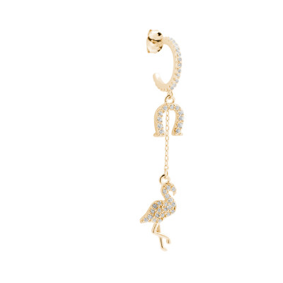 Yellow gold plated earring with flamingo and horseshoe