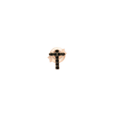 Rose gold plated cross earring with cubic zirconia
