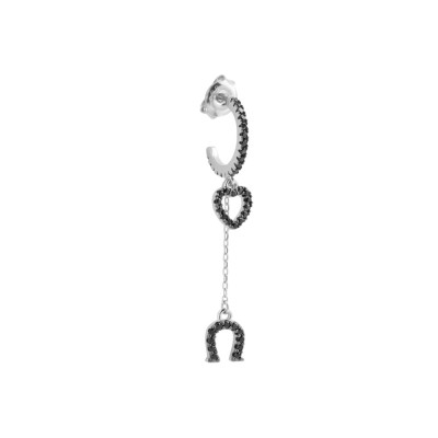 Crescent earring with heart and horseshoe