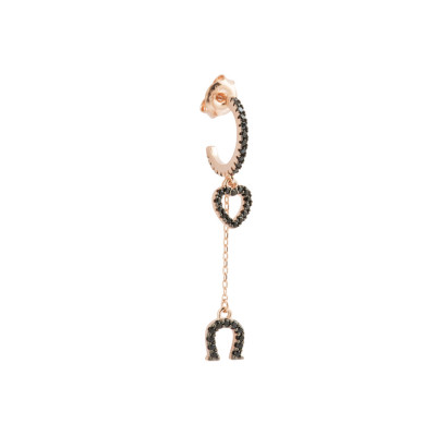 Rose gold plated crescent earring with heart and horseshoe