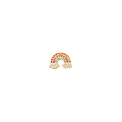 Yellow gold plated earring with rainbow of multicolor zircons