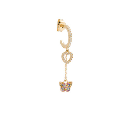 Crescent earring with heart and cubic zirconia butterfly