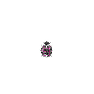 Lobe earring with cubic zirconia ladybird