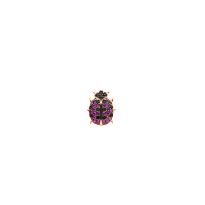 Rose gold plated earring with cubic zirconia ladybird