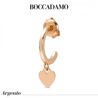 Mono earring with rose gold plated heart