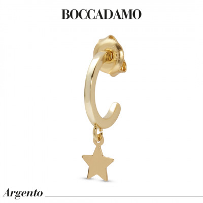 Yellow gold plated mono earring with star