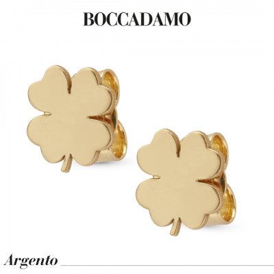 Four-leaf clover-shaped yellow gold-plated stud earrings