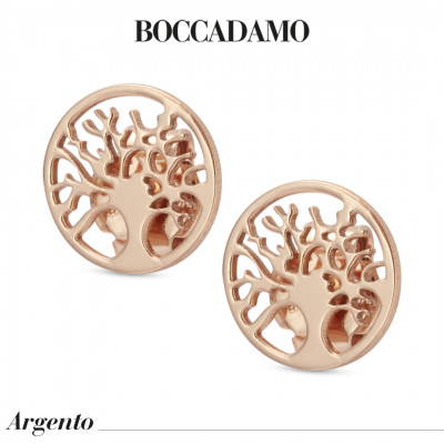 Rose gold plated stud earrings with tree of life