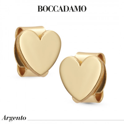 Yellow gold-plated heart stud earrings
