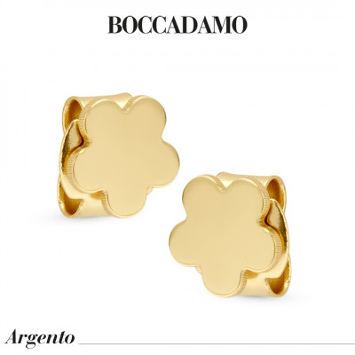Flower-shaped yellow gold-plated stud earrings