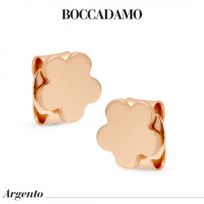Flower-shaped rose gold-plated stud earrings