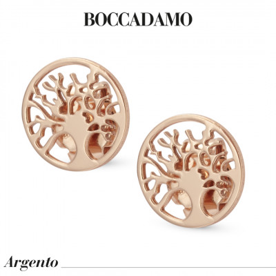 Tree of Life Shaped Rose Gold Plated Stud Earrings