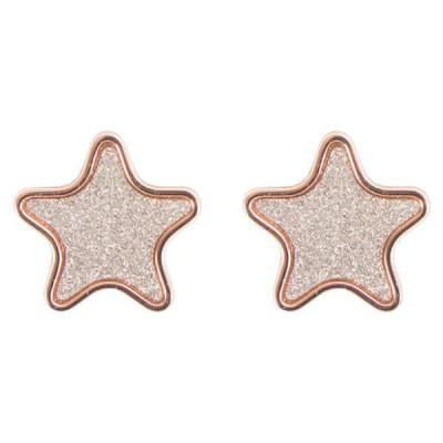 Orecchini a lobo placcati oro rosa con stella
