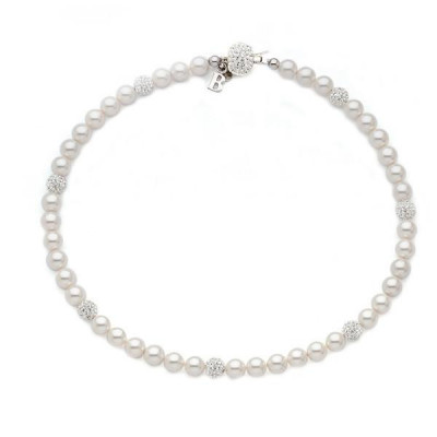 Necklace with Swarovski beads large and boules rhinestone